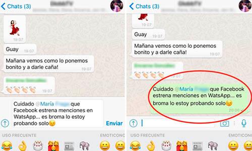 Actualizaciones de Wassap en 2016: Menciones en chats